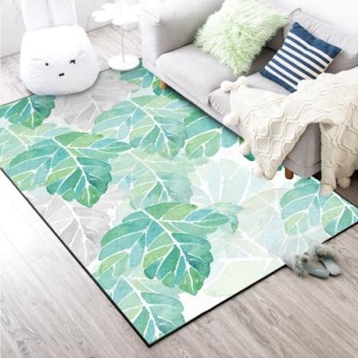 BUNNY LIFE 水彩綠葉-北歐風舒柔水晶絨地毯