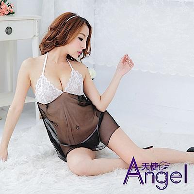 Angel天使 露乳睡衣網紗吊帶裙 BP021 黑