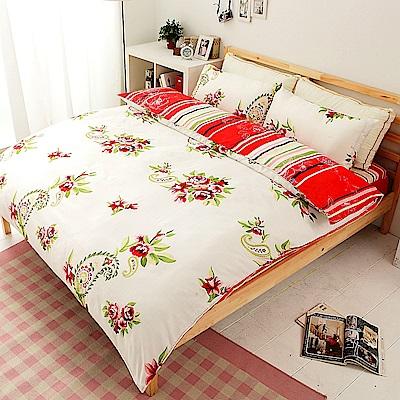 花語菲菲  柔絲絨加大四件式鋪棉兩用被床包組