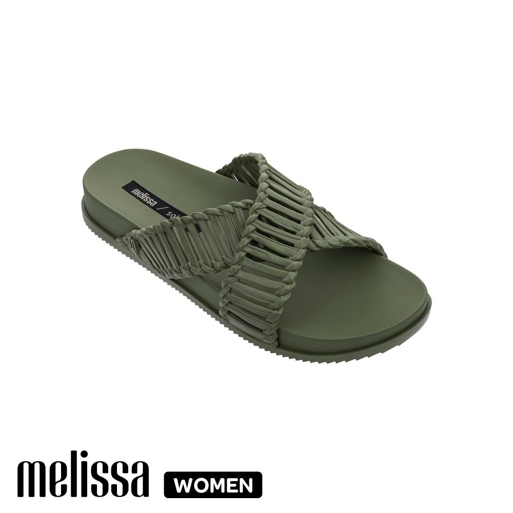 MelissaSalinas聯名編織交叉拖鞋 綠