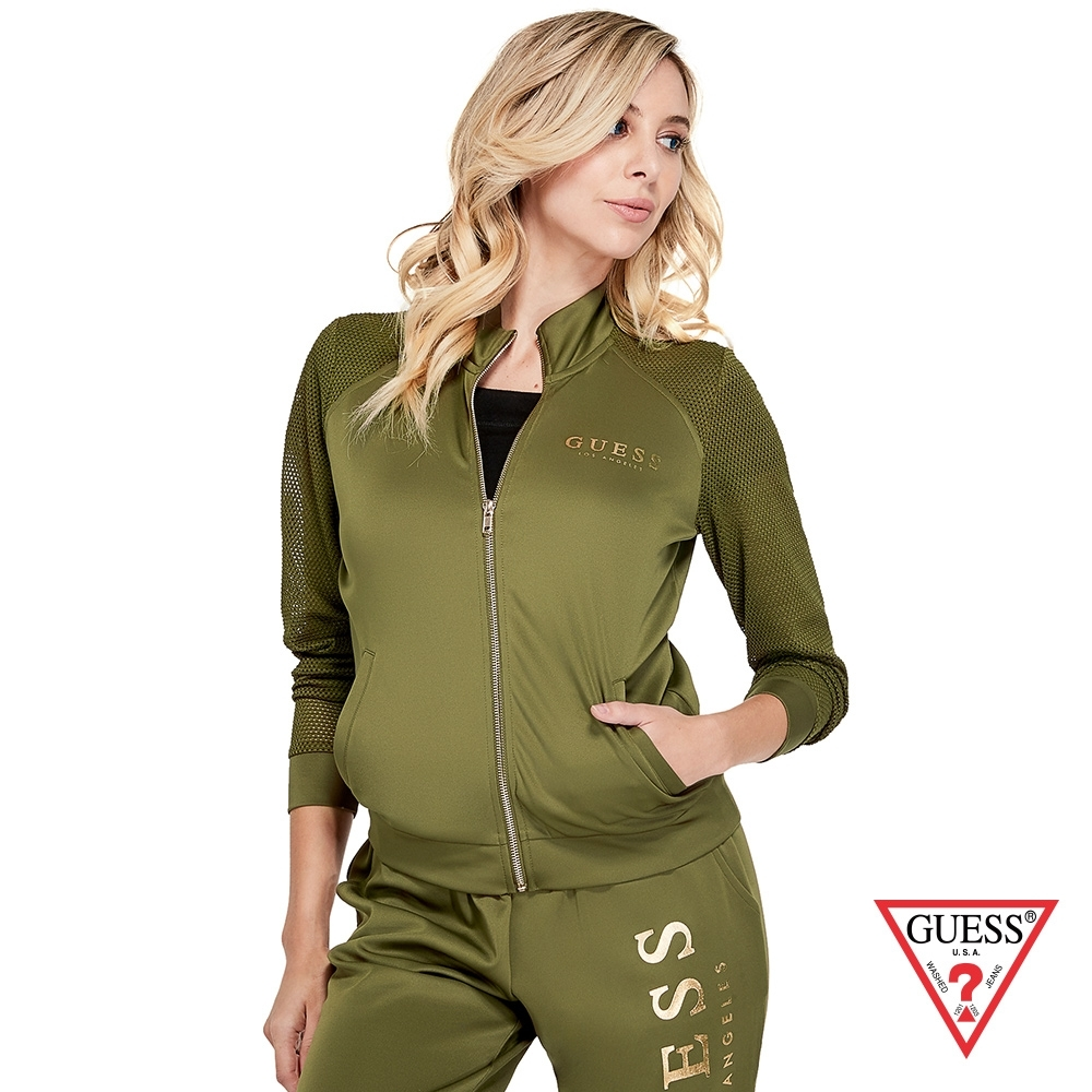 GUESS-女裝-炫金LOGO網眼拉鍊外套-綠 原價2990