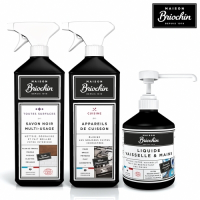 Maison Briochin 黑牌碧歐馨 雙倍潔淨零油汙組-廚具特效清潔液+多功能黑皂液+護手洗碗精