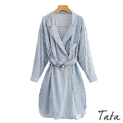 V領條紋側排扣長版上衣 (附腰帶) TATA