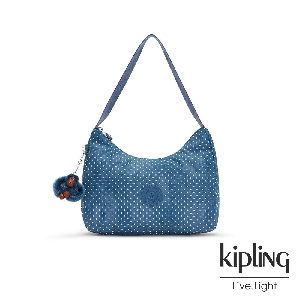 Kipling 復刻單寧水玉藍造型大開口拉鍊手提肩背包-ESTEBAN