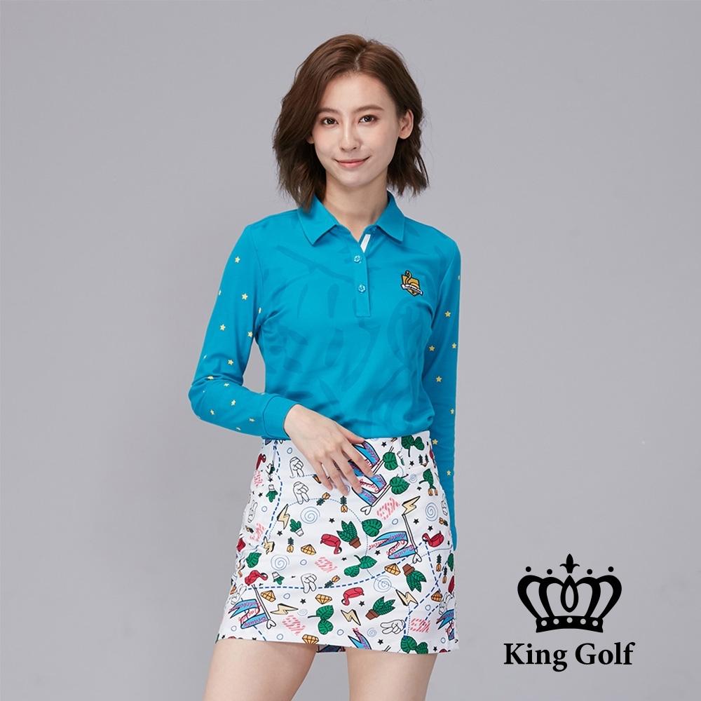 【KING GOLF】壓紋印花立體刺繡棉料薄款羅紋長袖POLO衫-綠色