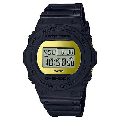G-SHOCK 35周年霧面磨砂黑設計運動錶(DW-5700BBMB-1)-黑金/45.4