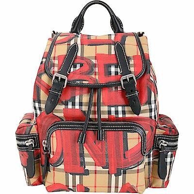 BURBERRY The Rucksack Vintage 中型塗鴉格紋軍旅後背包(紅色)