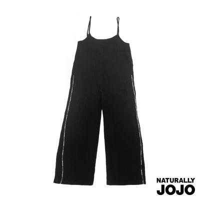 【NATURALLY JOJO】簡約棉麻連身長褲 (黑)
