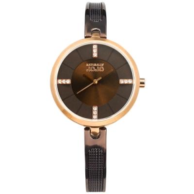 NATURALLY JOJO / 晶鑽刻度 米蘭編織不鏽鋼手錶-咖啡x玫瑰金框/31mm