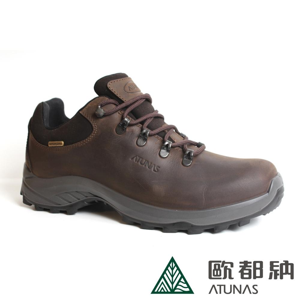 【ATUNAS 歐都納】男款全皮防水透氣登山鞋A1GCBB13M棕/牛皮/寬楦/低筒