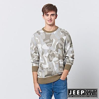 JEEP 豹紋迷彩長袖針織衫-卡其色