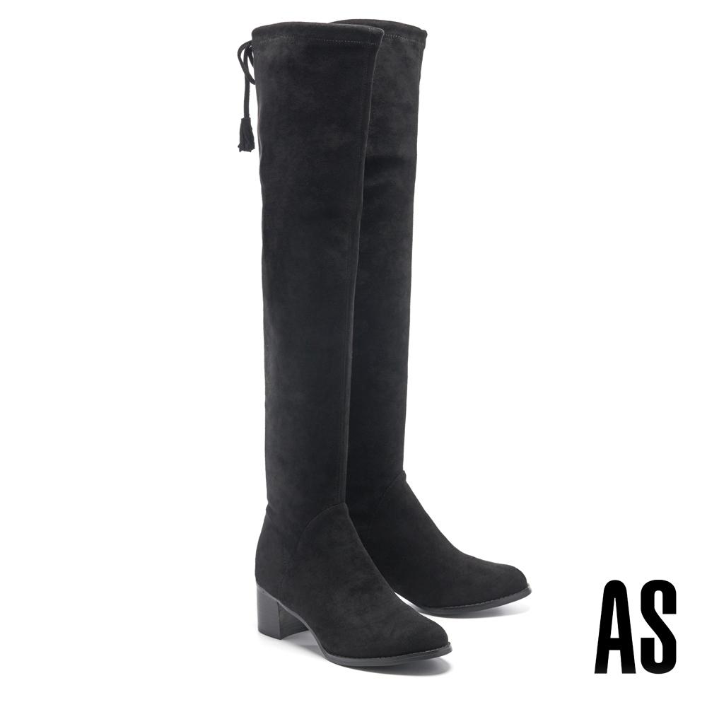 長靴 AS 俐落線條彈力麂布後綁帶高跟過膝長靴-黑