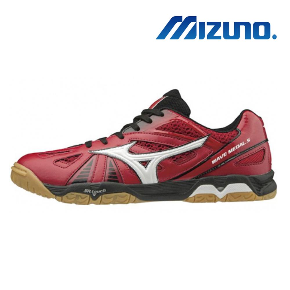 美津濃 WAVE MEDAL 5 男桌球鞋 紅黑 81GA151562