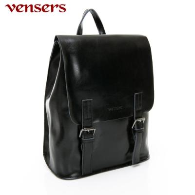【vensers】小牛皮潮流個性包~多功能後背包/斜背包(NL1075702黑色)