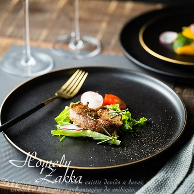 Homely Zakka 北歐輕奢風金邊黑色磨砂陶瓷餐具/牛排盤/西餐盤_小圓平盤20cm