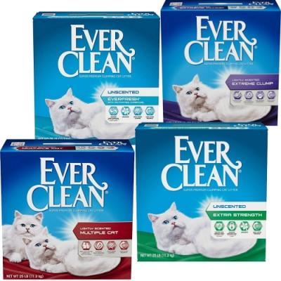 雙11限定 美國【EverClean】EVER 超強除臭結塊貓砂-25LB*2盒