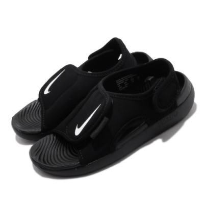 Nike 涼拖鞋 Sunray Adjust 5 套腳 童鞋 輕便 夏日 魔鬼氈 舒適 快速排水 中童 黑 白 DB9562001