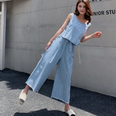 IMStyle韓版休閒牛仔綁帶背心磨毛鬆緊腰九分寬褲兩件式正品