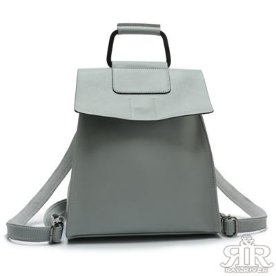 2R 輕軟牛皮Sporty金屬提把三用後背包 亞麻藍