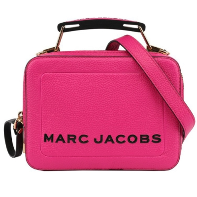 MARC JACOBS THE BOX 20 雙拉鍊牛皮手提/肩背兩用包(小款 /桃紅色)