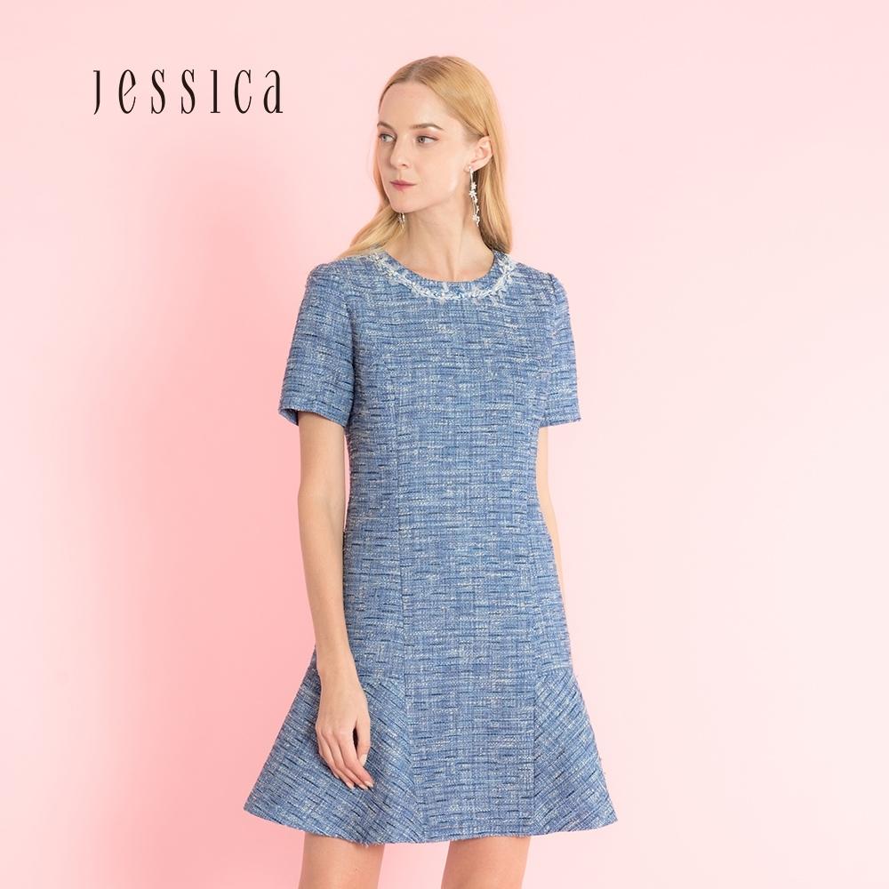 JESSICA-  清新牛仔藍花呢裙擺微喇造型短袖小香風洋裝