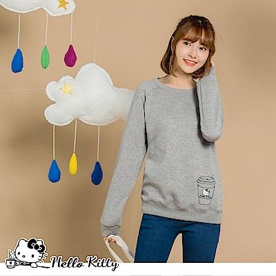 台灣製造~咖啡KITTY燙金印花內刷毛衛衣上衣-OB大尺碼