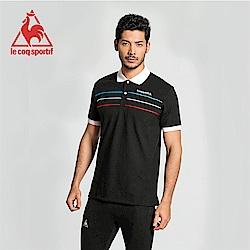 le coq sportif 法國公雞牌三色帶復古短袖POLO衫 男-黑