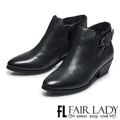 Fair Lady 俏麗尖頭扣飾拉鍊粗跟短靴 黑