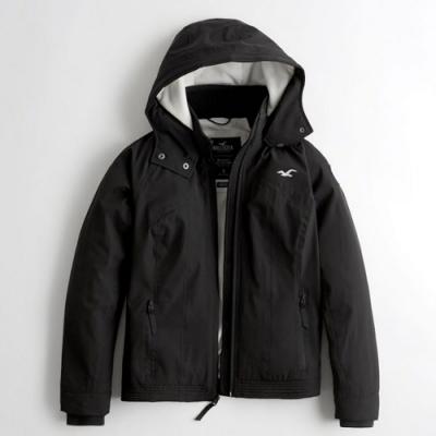 Hollister HCO 海鷗 防風防潑水刷毛鋪棉保暖外套(女/黑色-S)