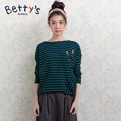 betty's貝蒂思 條紋交錯飛鼠袖T-shirt(藍綠色)
