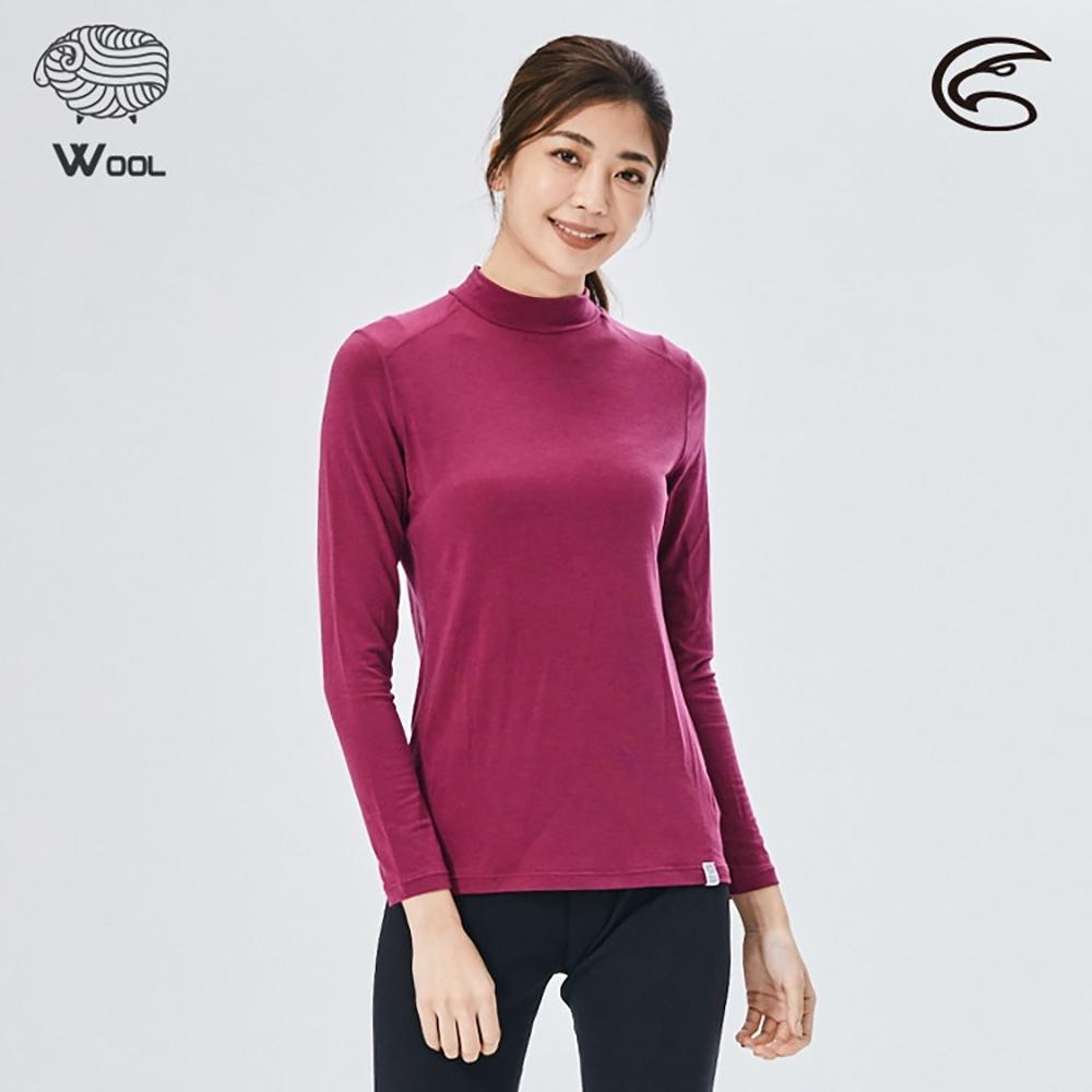 ADISI 女美麗諾混紡羊毛高領彈性保暖衣AU2021032 / 桃紫