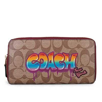 COACH 塗鴉品牌標防潑水Logo閃亮小櫻桃ㄇ型拉鍊長夾(紫苺色)