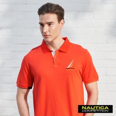 Nautica COMPETITION經典素色POLO衫-橘紅