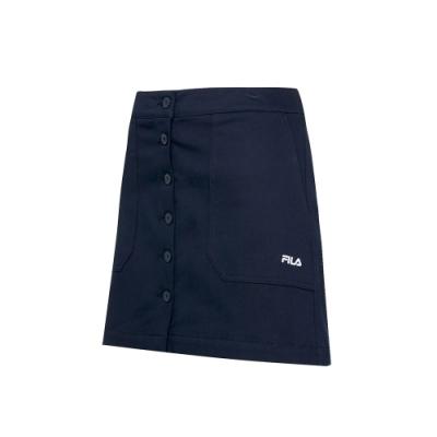 FILA 女平織短裙-丈青 5SKT-5465-NV