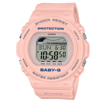 BABY-G 陽光女孩衝浪板造型數位休閒錶-(BLX-570-4)粉橘/44.9mm