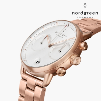 Nordgreen Pioneer 先鋒 玫瑰金系列 玫瑰金三珠精鋼錶帶手錶 42mm