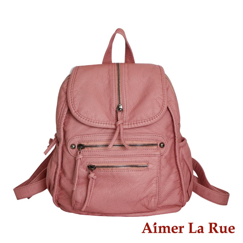 Aimer La Rue 輕柔水洗個性純色後背包-粉色(快) @ Y!購物