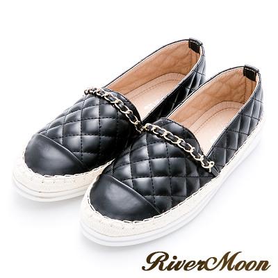 River&Moon懶人鞋-小香菱格金鍊條麻編豆豆鞋-黑