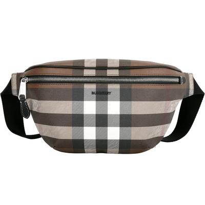 BURBERRY Check 格紋環保帆布肩胸背/腰包(樺木棕)