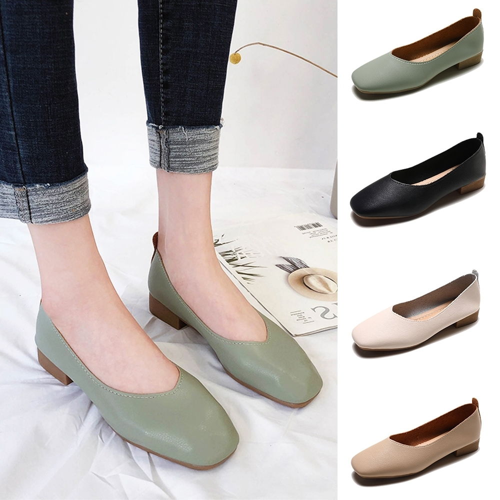 LN 現+預 經典款方頭低跟包鞋-4色