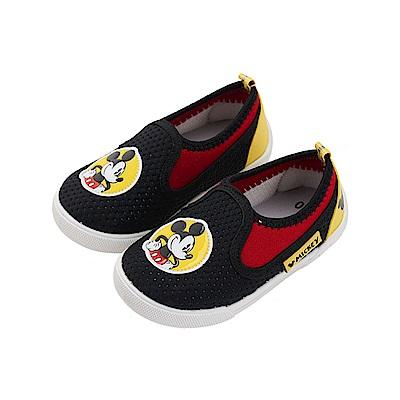 迪士尼 米奇 可愛經典造型 透氣休閒便鞋-黑