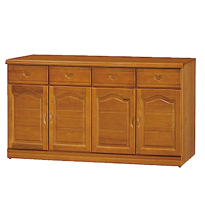 綠活居 尼圖時尚5.3尺實木餐櫃/收納櫃-159x42x81cm-免組
