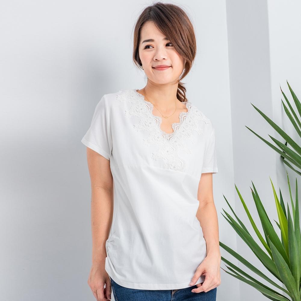 【白鵝buyer】優雅V領蕾絲造型上衣-白