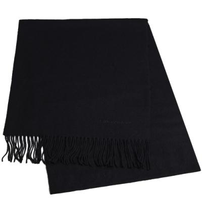 LONGCHAMP 蘇格蘭製品牌字母刺繡LOGO混喀什米爾羊毛圍巾/披肩(黑)