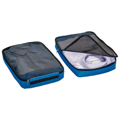 Go Travel 網紋衣物收納袋兩件組 - 藍