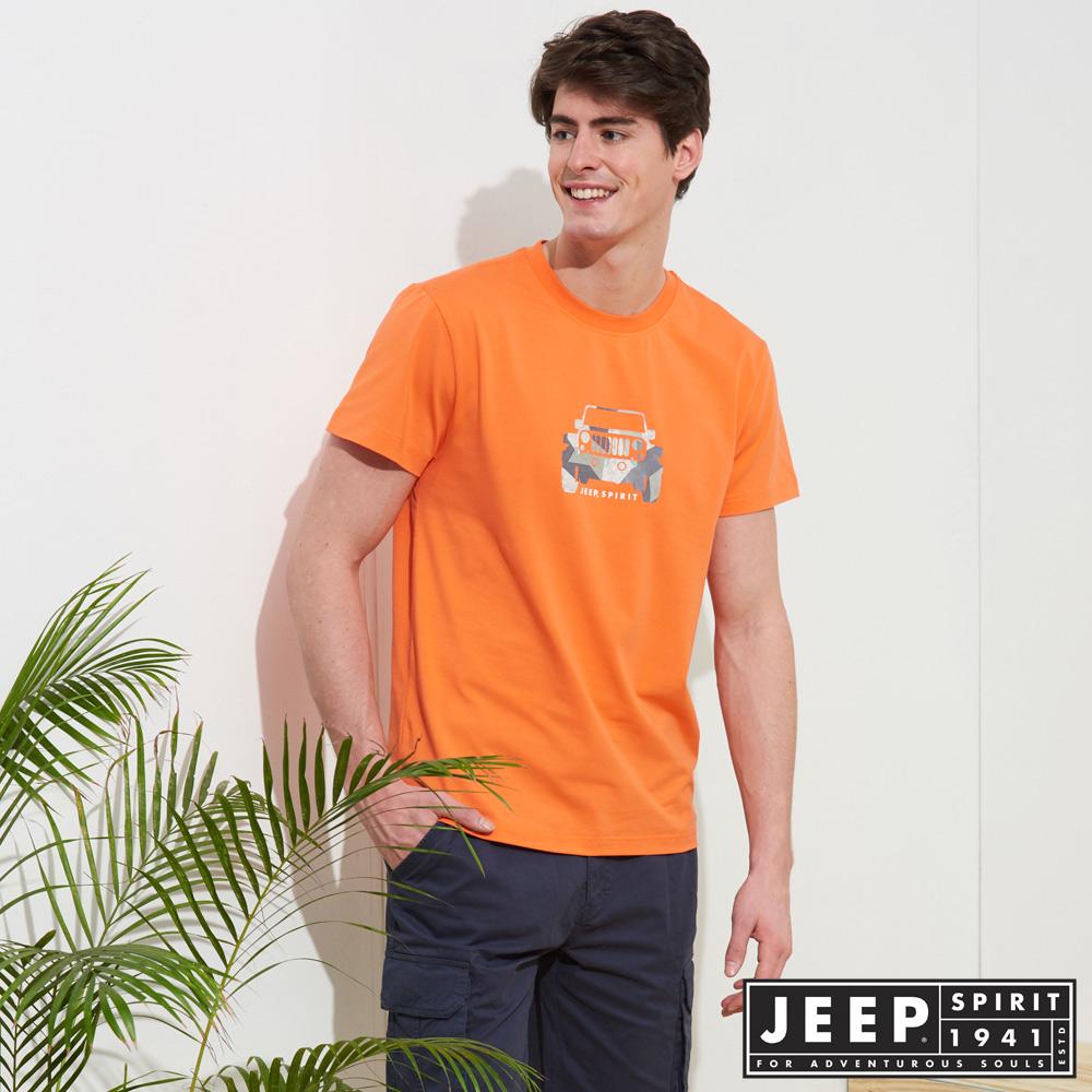 JEEP 美式迷彩圖騰短袖TEE-橘色