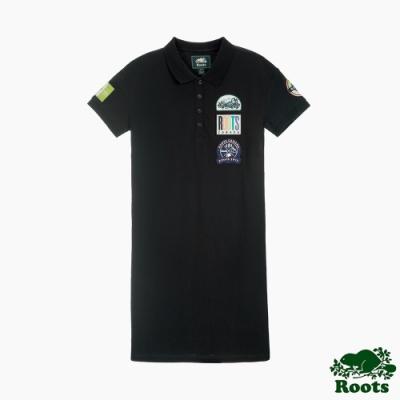 女裝-ROOTS霓虹貼布polo寬鬆洋裝-黑