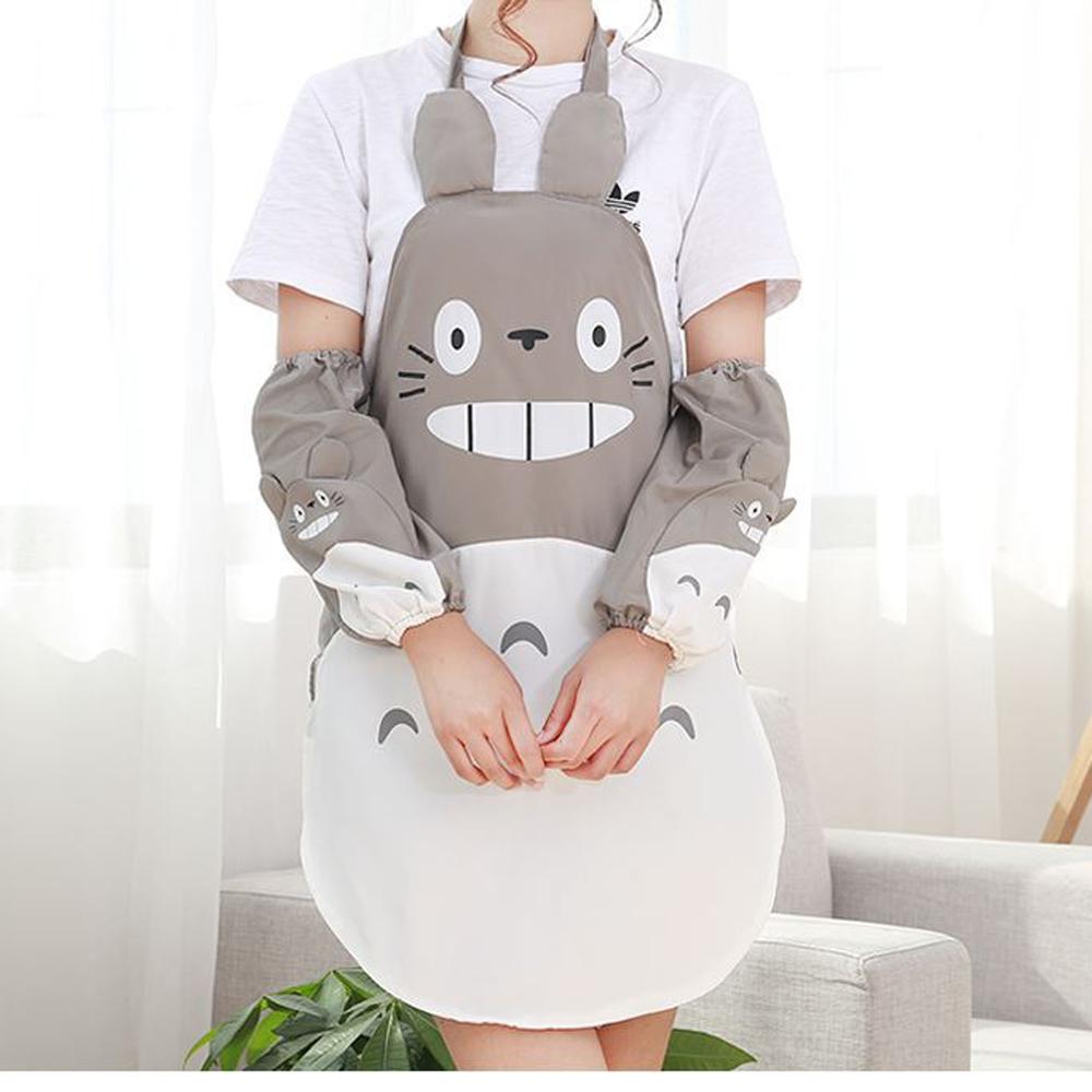 BD006 防水防污龍貓圍裙袖套創意圍裙龍貓廚房圍裙咖啡廳工作圍裙日式圍裙卡通PE圍裙廚師
