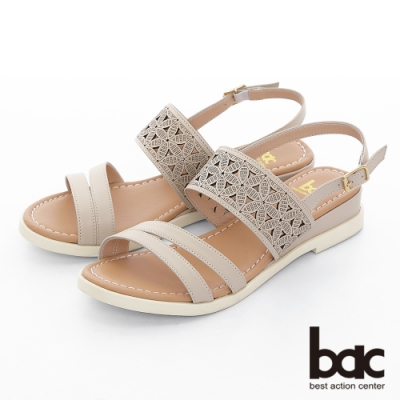【bac】繽紛曼谷 -原色感不對襯雷射沖孔雕花楔型底台涼鞋-米色