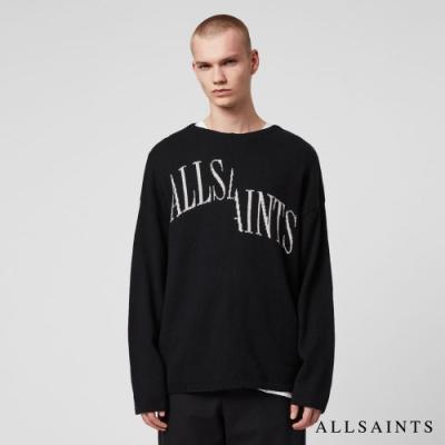 ALLSAINTS SPLIT SAINTS 品牌標寬版羊毛針織毛衣-黑